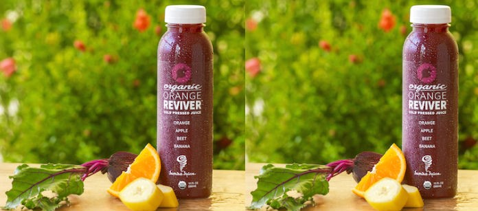 Color photo with jamba juice revitalizer
